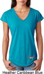 Ladies Ford Tee Mustang Bottom Print Tri Blend V-neck