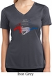 Ladies Ford Tee Mustang Red White and Blue Dry Wicking V-neck