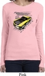 Ladies Ford Vintage Yellow Mustang Boss Long Sleeve Shirt