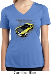 Ladies Ford Vintage Yellow Mustang Boss Moisture Wicking V-neck Shirt