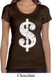 Ladies Funny Shirt Distressed Dollar Sign Scoop Neck Tee T-Shirt