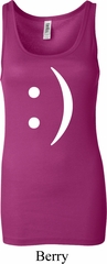 Ladies Funny Tanktop Smiley Chat Face Longer Length Tank Top