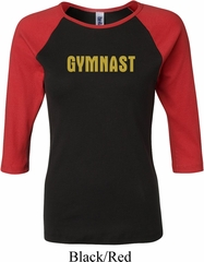 Ladies Gymnastics Shirt Gold Shimmer Gymnast Raglan Tee T-Shirt