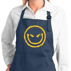 Ladies Halloween Apron Evil Smiley Face Full Length Apron with Pockets