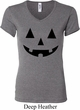 Ladies Halloween Shirt Black Jack O Lantern V-neck Tee T-Shirt