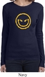 Ladies Halloween Shirt Evil Smiley Face Long Sleeve Tee T-Shirt