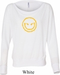 Ladies Halloween Shirt Evil Smiley Face Off Shoulder Tee T-Shirt