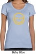 Ladies Halloween Shirt Evil Smiley Face Scoop Neck Tee T-Shirt