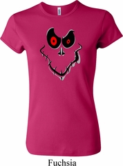 Ladies Halloween Shirt Ghost Face Crewneck Tee T-Shirt