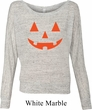 Ladies Halloween Shirt Orange Jack O Lantern Off Shoulder Tee T-Shirt