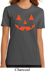 Ladies Halloween Shirt Orange Jack O Lantern Organic Tee T-Shirt