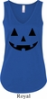Ladies Halloween Tanktop Black Jack O Lantern Flowy V-neck Tank Top