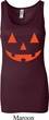 Ladies Halloween Tanktop Orange Jack O Lantern Longer Length Tank Top