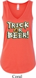 Ladies Halloween Tanktop Trick Or Beer Flowy V-neck Tank Top