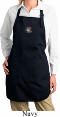 Ladies Hippie Sun Patch Middle Print Full Length Apron with Pockets