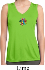 Ladies Hippie Sun Patch Middle Print Sleeveless Moisture Wicking Tee