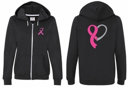 Ladies Hoodie Pink Ribbon Heart Front & Back Print Full Zip Hoody