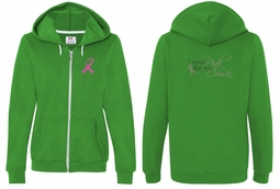 Ladies Hoodie Pink Ribbon My Cousin Front & Back Full Zip Hoody