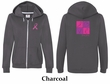 Ladies Hoodie Pink Ribbon Peace Love Front & Back Full Zip Hoody