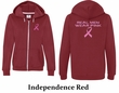 Ladies Hoodie Pink Ribbon Real Men Front & Back Print Full Zip Hoody