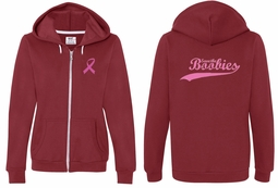 Ladies Hoodie Pink Ribbon Save the Boobies Front & Back Full Zip Hoody