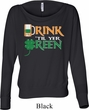 Ladies Irish Shirt Drink Til Yer Green Off Shoulder Tee T-Shirt