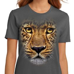 Ladies Leopard Shirt Big Leopard Face Organic T-Shirt
