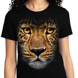 Ladies Leopard Shirt Big Leopard Face Tee T-Shirt