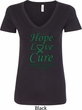Ladies Liver Cancer Awareness Hope Love Cure V-Neck