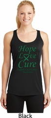 Ladies Liver Cancer Hope Love Cure Dry Wicking Racerback