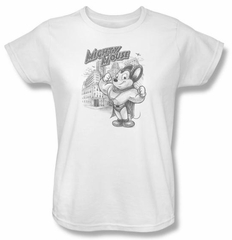 Ladies Mighty Mouse T-shirt - TV Series Protect And Serve White Tee