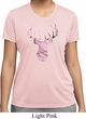 Ladies Mossy Oak Pink Camo Deer Moisture Wicking Shirt