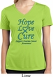 Ladies Ovarian Cancer Hope Love Cure Dry Wicking V-neck