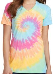 Ladies Pastel Rainbow Tie Dye V-neck Shirt