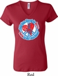 Ladies Peace Shirt All You Need is Love V-neck Tee T-Shirt