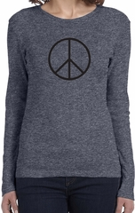 Ladies Peace Shirt Basic Peace Black Long Sleeve Tee T-Shirt