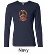 Ladies Peace Shirt Funky Peace Long Sleeve Tee T-Shirt