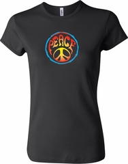 Ladies Peace Shirt Psychedelic Peace Crewneck Tee T-Shirt