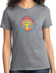 Ladies Peace Shirt Psychedelic Peace Tee T-Shirt