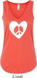 Ladies Peace Tanktop Hippie Heart Peace Flowy V-neck Tank Top
