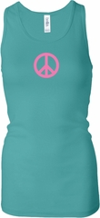 Ladies Peace Tanktop Pink Peace Longer Length Racerback Tank
