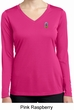 Ladies Pineapple Patch Pocket Print Dry Wicking Long Sleeve V-neck