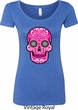 Ladies Pink Sugar Skull Scoop Neck Shirt