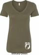 Ladies Pow Mia Bottom Print V-Neck Shirt