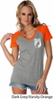 Ladies Pow Mia Pocket Print Contrast V-neck Shirt