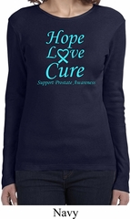 Ladies Prostate Cancer Hope Love Cure Long Sleeve