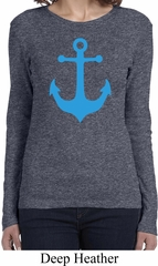 Ladies Sailing Shirt Blue Anchor Long Sleeve Tee