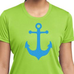 Ladies Sailing Shirt Blue Anchor Moisture Wicking Tee