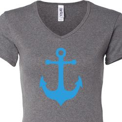 Ladies Sailing Shirt Blue Anchor V-neck Tee T-Shirt