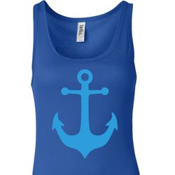 Ladies Sailing Tanktop Blue Anchor Longer Length Tank